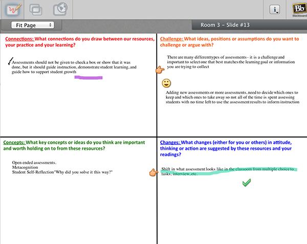 screenshot of blackboard course