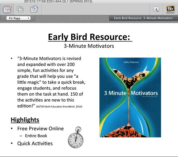 screenshot from blackboard course