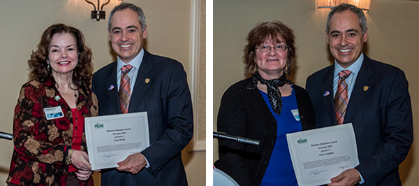 left, president cabrera and peggy brouse, right, president cabrera and susan campbell